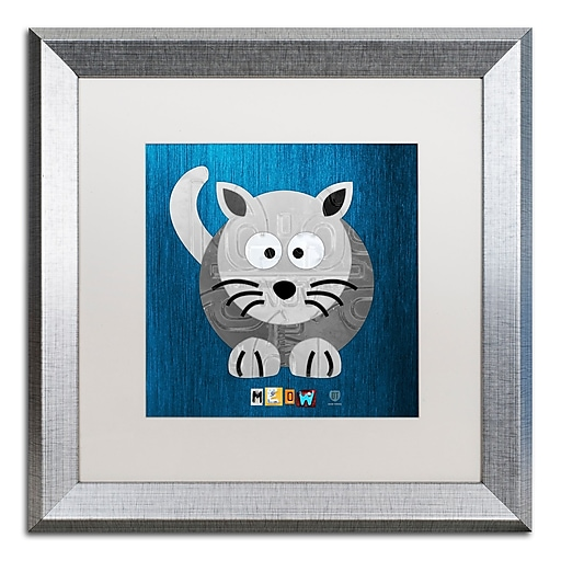 """Trademark Fine Art ''Meow The Cat'' by Design Turnpike 16"""" x 16"""" White Matted Silver Frame (ALI1303-S1616MF)"""