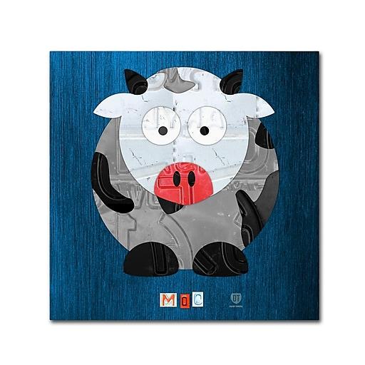 "Trademark Fine Art ''Moo The Cow'' by Design Turnpike 18"" x 18"" Canvas Art (ALI1304-C1818GG)"