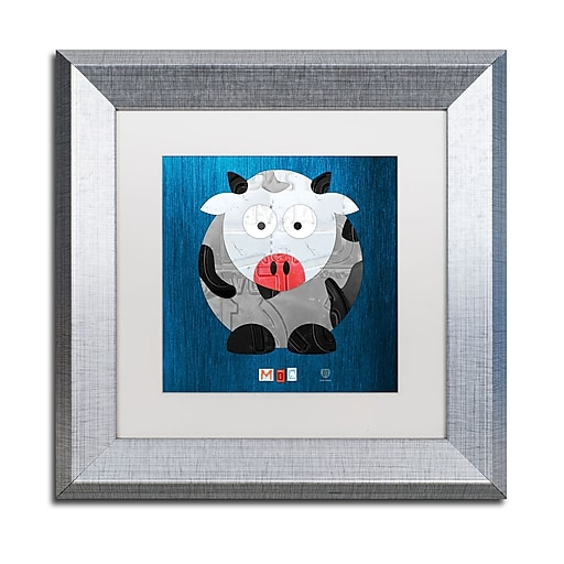 "Trademark Fine Art ''Moo The Cow'' by Design Turnpike 11"" x 11"" White Matted Silver Frame (ALI1304-S1111MF)"