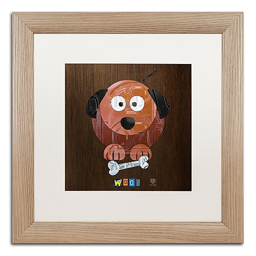 """Trademark Fine Art ''Woof The Dog'' by Design Turnpike 16"""" x 16"""" White Matted Wood Frame (ALI1305-T1616MF)"""