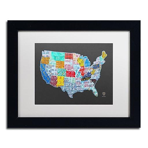 "Trademark Fine Art ''Massive USA License Plate Map'' by Design Turnpike 11"" x 14"" White Matted Black Frame (ALI1306-B1114MF)"