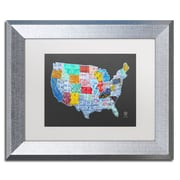 "Trademark Fine Art ''Massive USA License Plate Map'' by Design Turnpike 11"" x 14"" White Matted Silver Frame (ALI1306-S1114MF)"