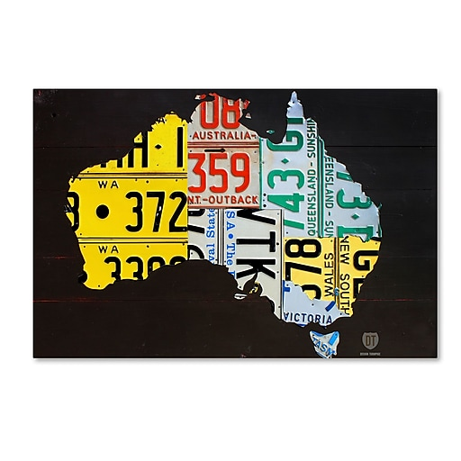 "Trademark Fine Art ''Australia License Plate Map'' by Design Turnpike 30"" x 47"" Canvas Art (ALI1311-C3047GG)"