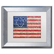 "Trademark Fine Art ''Betsy Ross Flag'' by Design Turnpike 11"" x 14"" White Matted Silver Frame (ALI1313-S1114MF)"