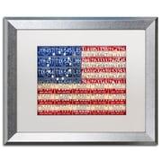 "Trademark Fine Art ''Betsy Ross Flag'' by Design Turnpike 16"" x 20"" White Matted Silver Frame (ALI1313-S1620MF)"