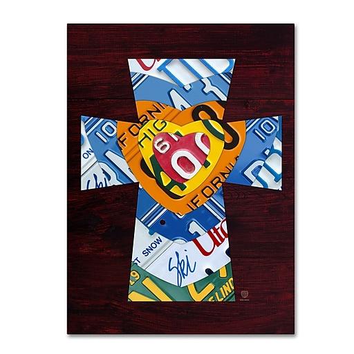 "Trademark Fine Art ''Heart Cross'' by Design Turnpike 35"" x 47"" Canvas Art (ALI1316-C3547GG)"