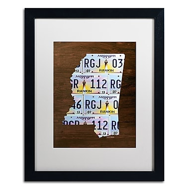 Trademark Fine Art ''Mississippi License Plate Map'' by Design Turnpike 16