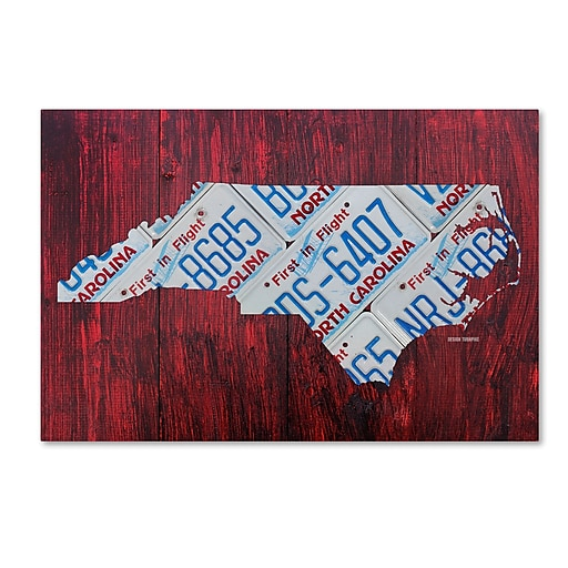 "Trademark Fine Art ''North Carolina License Plate Map'' by Design Turnpike 12"" x 19"" Canvas Art (ALI1320-C1219GG)"
