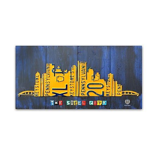 "Trademark Fine Art ''Pittsburgh Skyline'' by Design Turnpike 10"" x 19"" Canvas Art (ALI1322-C1019GG)"