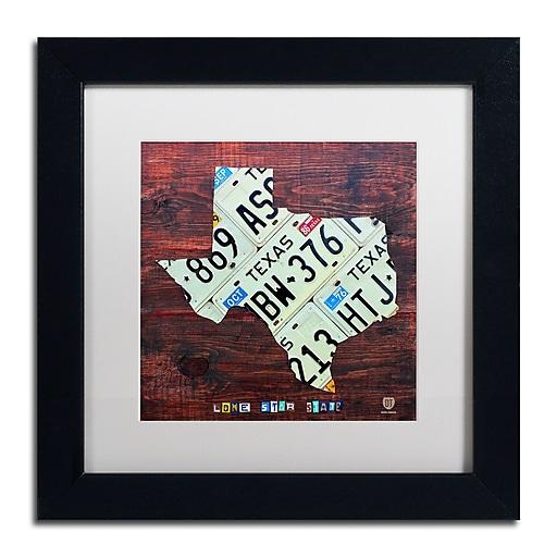 "Trademark Fine Art ''Texas License Plate Map Large'' by Design Turnpike 11"" x 11"" White Matted Black Frame (ALI1323-B1111MF)"