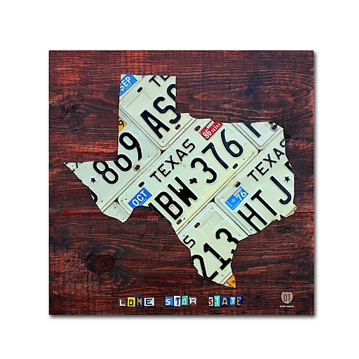 "Trademark Fine Art ''Texas License Plate Map Large'' by Design Turnpike 18"" x 18"" Canvas Art (ALI1323-C1818GG)"