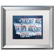 "Trademark Fine Art ''Washington License Plate Map'' by Design Turnpike 16"" x 20"" White Matted Silver Frame (ALI1325-S1620MF)"