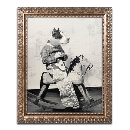 "Trademark Fine Art ''Dog Series #4'' by J Hovenstine Studios 11"" x 14"" Ornate Frame (ALI1335-G1114F)"