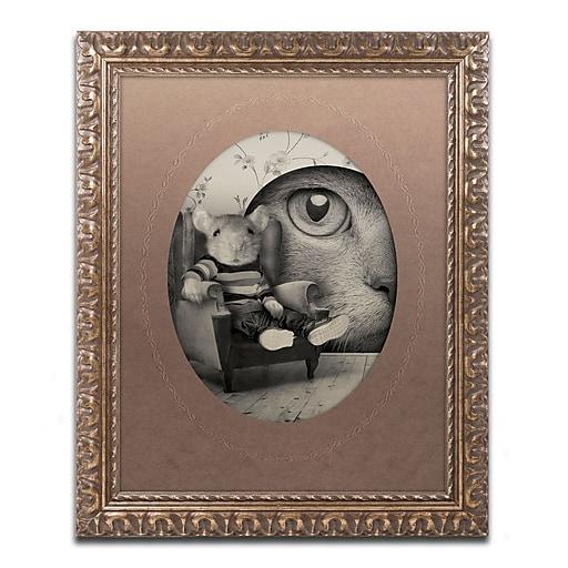 "Trademark Fine Art ''Mice Series #3'' by J Hovenstine Studios 11"" x 14"" Ornate Frame (ALI1342-G1114F)"