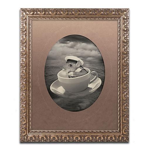 "Trademark Fine Art ''Mice Series #4'' by J Hovenstine Studios 11"" x 14"" Ornate Frame (ALI1344-G1114F)"