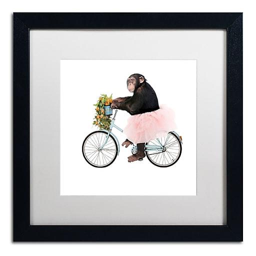 "Trademark Fine Art ''Monkeys Riding Bikes #1'' by J Hovenstine Studios 16"" x 16"" White Matted Black Frame (ALI1348-B1616MF)"