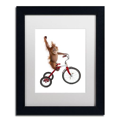 "Trademark Fine Art ''Monkeys Riding Bikes #2'' by J Hovenstine Studios 11"" x 14"" White Matted Black Frame (ALI1349-B1114MF)"
