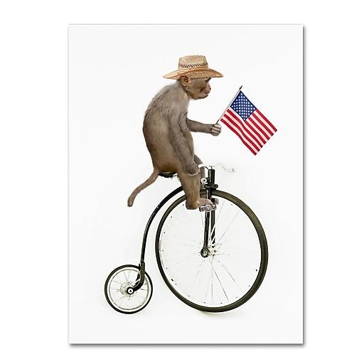 "Trademark Fine Art ''Monkeys Riding Bikes #3'' by J Hovenstine Studios 14"" x 19"" Canvas Art (ALI1350-C1419GG)"
