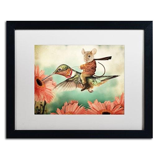 "Trademark Fine Art ''Catching A Ride Hummingbird'' by J Hovenstine Studios 16"" x 20"" White Matted Black Frame (ALI1361-B1620MF)"
