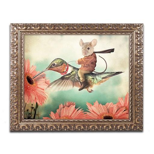 "Trademark Fine Art ''Catching A Ride Hummingbird'' by J Hovenstine Studios 16"" x 20"" Ornate Frame (ALI1361-G1620F)"