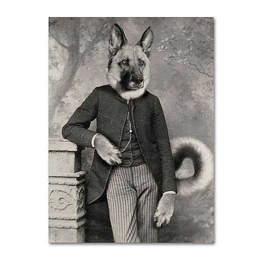 "Trademark Fine Art ''Hans The German Shepherd'' by J Hovenstine Studios 14"" x 19"" Canvas Art (ALI1362-C1419GG)"