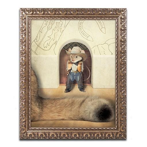 "Trademark Fine Art ''New Mouse In Town'' by J Hovenstine Studios 11"" x 14"" Ornate Frame (ALI1364-G1114F)"