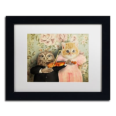 """Trademark Fine Art ''The Owl And The Pussycat'' by J Hovenstine Studios 11"""" x 14"""" White Matted Black Frame (ALI1366-B1114MF)"""
