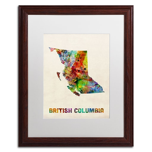 "Trademark Fine Art ''British Columbia Watercolor Map'' by Michael Tompsett 16"" x 20"" White Matted Wood Frame (MT0503-W1620MF)"