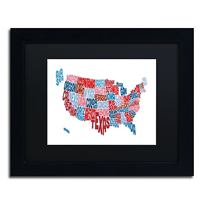 Trademark Fine Art ''United States Typography Text Map'' by Michael Tompsett 11