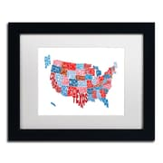 "Trademark Fine Art ''United States Typography Text Map'' by Michael Tompsett 11"" x 14"" Black Frame (MT0504-B1114MF)"