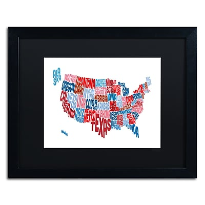 Trademark Fine Art ''United States Typography Text Map'' by Michael Tompsett 16