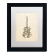 "Trademark Fine Art ''Acoustic Guitar Old Sheet Music'' by Michael Tompsett 11"" x 14"" White Matted Black Frame (MT0506-B1114MF)"