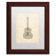 "Trademark Fine Art ''Acoustic Guitar Old Sheet Music'' by Michael Tompsett 11"" x 14"" White Matted Wood Frame (MT0506-W1114MF)"