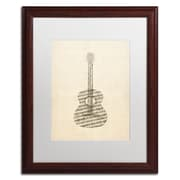"Trademark Fine Art ''Acoustic Guitar Old Sheet Music'' by Michael Tompsett 16"" x 20"" Wood Frame (MT0506-W1620MF)"