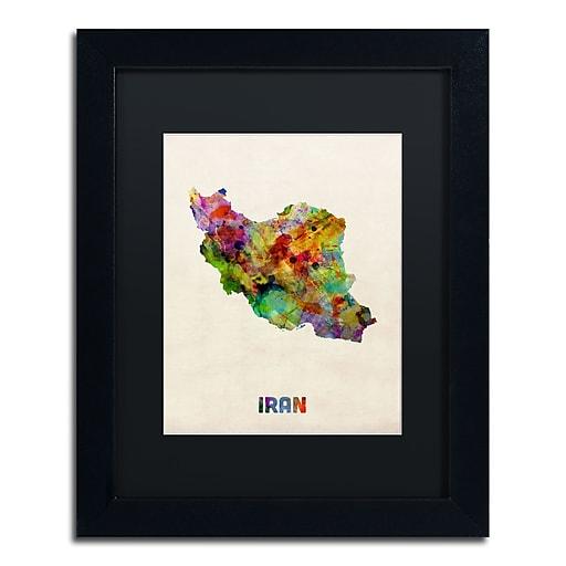 "Trademark Fine Art ''Iran Watercolor Map'' by Michael Tompsett 11"" x 14"" Black Matted Black Frame (MT0507-B1114BMF)"