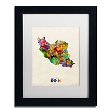Trademark Fine Art ''Iran Watercolor Map'' by Michael Tompsett 11