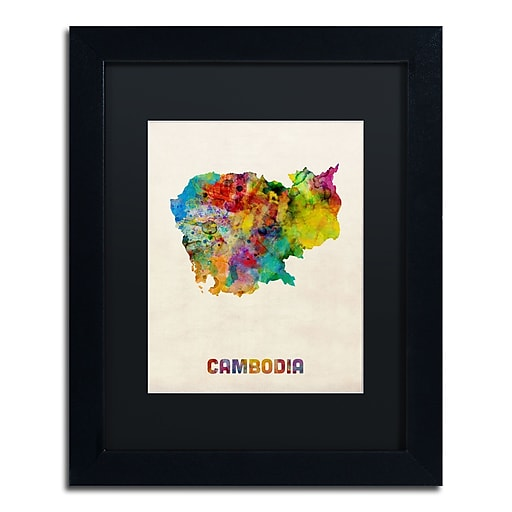 "Trademark Fine Art ''Cambodia Watercolor Map'' by Michael Tompsett 11"" x 14"" Black Matted Black Frame (MT0509-B1114BMF)"