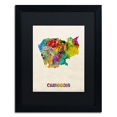 Trademark Fine Art ''Cambodia Watercolor Map'' by Michael Tompsett 16