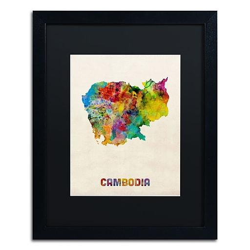 "Trademark Fine Art ''Cambodia Watercolor Map'' by Michael Tompsett 16"" x 20"" Black Matted Black Frame (MT0509-B1620BMF)"