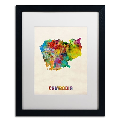 "Trademark Fine Art ''Cambodia Watercolor Map'' by Michael Tompsett 16"" x 20"" White Matted Black Frame (MT0509-B1620MF)"
