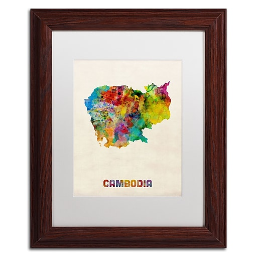 "Trademark Fine Art ''Cambodia Watercolor Map'' by Michael Tompsett 11"" x 14"" White Matted Wood Frame (MT0509-W1114MF)"