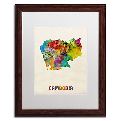 Trademark Fine Art ''Cambodia Watercolor Map'' by Michael Tompsett 16