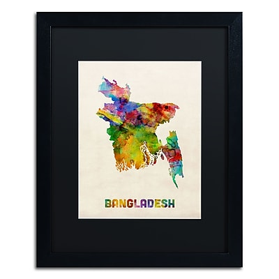 Trademark Fine Art ''Bangladesh Watercolor Map'' by Michael Tompsett 16