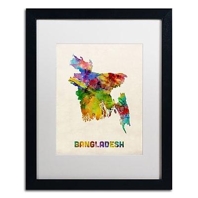 Trademark Fine Art ''Bangladesh Watercolor Map'' by Michael Tompsett 16