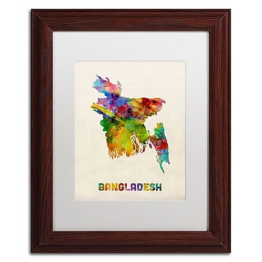 Trademark Fine Art ''Bangladesh Watercolor Map'' by Michael Tompsett 11