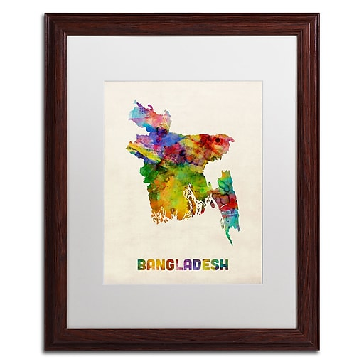 "Trademark Fine Art ''Bangladesh Watercolor Map'' by Michael Tompsett 16"" x 20"" White Matted Wood Frame (MT0511-W1620MF)"