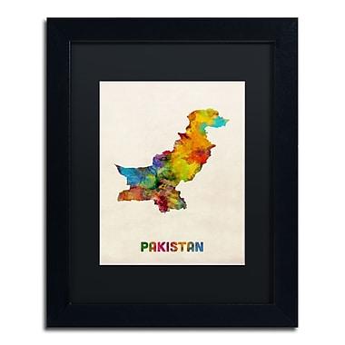 Trademark Fine Art ''Pakistan Watercolor Map'' by Michael Tompsett 11