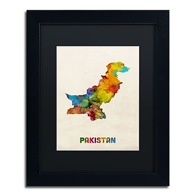 Trademark Fine Art ''Pakistan Watercolor Map'' by Michael Tompsett 11