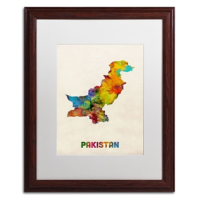 Trademark Fine Art ''Pakistan Watercolor Map'' by Michael Tompsett 16