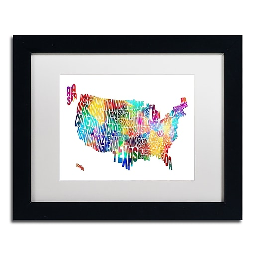 "Trademark Fine Art ''United States Typography Map 2'' by Michael Tompsett 11"" x 14"" White Matted Black Frame (MT0513-B1114MF)"